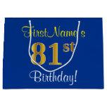 [ Thumbnail: Elegant, Blue, Faux Gold 81st Birthday + Name Gift Bag ]