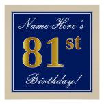[ Thumbnail: Elegant, Blue, Faux Gold 81st Birthday + Name Poster ]