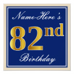 [ Thumbnail: Elegant, Blue, Faux Gold 82nd Birthday + Name Invitation ]