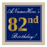 [ Thumbnail: Elegant, Blue, Faux Gold 82nd Birthday + Name Poster ]