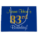 [ Thumbnail: Elegant, Blue, Faux Gold 83rd Birthday + Name Gift Bag ]