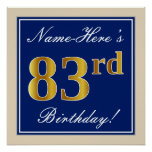 [ Thumbnail: Elegant, Blue, Faux Gold 83rd Birthday + Name Poster ]