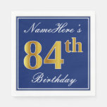 [ Thumbnail: Elegant Blue, Faux Gold 84th Birthday; Custom Name Paper Napkin ]