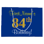 [ Thumbnail: Elegant, Blue, Faux Gold 84th Birthday + Name Gift Bag ]