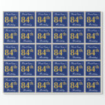 [ Thumbnail: Elegant, Blue, Faux Gold 84th Birthday + Name Wrapping Paper ]