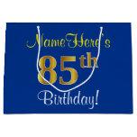 [ Thumbnail: Elegant, Blue, Faux Gold 85th Birthday + Name Gift Bag ]