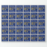 [ Thumbnail: Elegant, Blue, Faux Gold 85th Birthday + Name Wrapping Paper ]