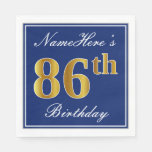 [ Thumbnail: Elegant Blue, Faux Gold 86th Birthday; Custom Name Paper Napkin ]