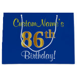 [ Thumbnail: Elegant, Blue, Faux Gold 86th Birthday + Name Gift Bag ]