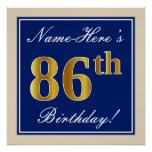 [ Thumbnail: Elegant, Blue, Faux Gold 86th Birthday + Name Poster ]