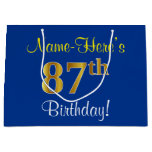 [ Thumbnail: Elegant, Blue, Faux Gold 87th Birthday + Name Gift Bag ]