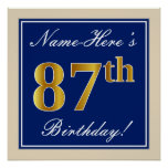 [ Thumbnail: Elegant, Blue, Faux Gold 87th Birthday + Name Poster ]
