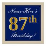 [ Thumbnail: Elegant, Blue, Faux Gold 87th Birthday + Name Poster ]