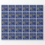 [ Thumbnail: Elegant, Blue, Faux Gold 87th Birthday + Name Wrapping Paper ]