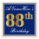 [ Thumbnail: Elegant, Blue, Faux Gold 88th Birthday + Name Invitation ]