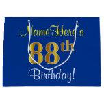 [ Thumbnail: Elegant, Blue, Faux Gold 88th Birthday + Name Gift Bag ]