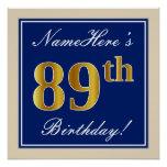 [ Thumbnail: Elegant, Blue, Faux Gold 89th Birthday + Name Poster ]