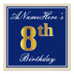 [ Thumbnail: Elegant, Blue, Faux Gold 8th Birthday; Custom Name Invitation ]