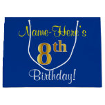 [ Thumbnail: Elegant, Blue, Faux Gold 8th Birthday; Custom Name Gift Bag ]
