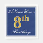 [ Thumbnail: Elegant Blue, Faux Gold 8th Birthday + Custom Name Paper Napkin ]