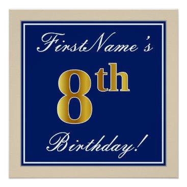 Art Themed Elegant, Blue, Faux Gold 8th Birthday; Custom Name Poster