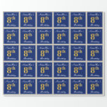 [ Thumbnail: Elegant, Blue, Faux Gold 8th Birthday; Custom Name Wrapping Paper ]