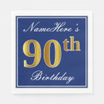 [ Thumbnail: Elegant Blue, Faux Gold 90th Birthday; Custom Name Napkin ]