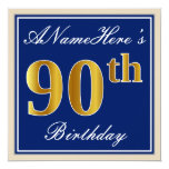[ Thumbnail: Elegant, Blue, Faux Gold 90th Birthday + Name Invitation ]