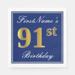[ Thumbnail: Elegant Blue, Faux Gold 91st Birthday; Custom Name Paper Napkin ]