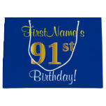 [ Thumbnail: Elegant, Blue, Faux Gold 91st Birthday + Name Gift Bag ]