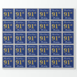 [ Thumbnail: Elegant, Blue, Faux Gold 91st Birthday + Name Wrapping Paper ]