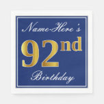 [ Thumbnail: Elegant Blue, Faux Gold 92nd Birthday; Custom Name Paper Napkin ]