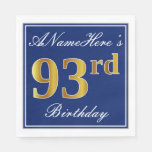 [ Thumbnail: Elegant Blue, Faux Gold 93rd Birthday; Custom Name Paper Napkin ]