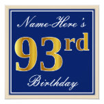 [ Thumbnail: Elegant, Blue, Faux Gold 93rd Birthday + Name Invitation ]