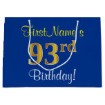 [ Thumbnail: Elegant, Blue, Faux Gold 93rd Birthday + Name Gift Bag ]