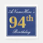 [ Thumbnail: Elegant Blue, Faux Gold 94th Birthday; Custom Name Napkin ]