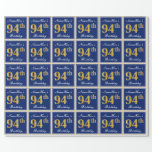 [ Thumbnail: Elegant, Blue, Faux Gold 94th Birthday + Name Wrapping Paper ]