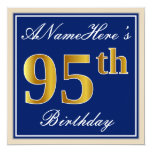 [ Thumbnail: Elegant, Blue, Faux Gold 95th Birthday + Name Invitation ]