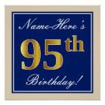 [ Thumbnail: Elegant, Blue, Faux Gold 95th Birthday + Name Poster ]