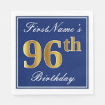 [ Thumbnail: Elegant Blue, Faux Gold 96th Birthday; Custom Name Paper Napkin ]