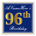 [ Thumbnail: Elegant, Blue, Faux Gold 96th Birthday + Name Invitation ]