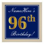 [ Thumbnail: Elegant, Blue, Faux Gold 96th Birthday + Name Poster ]