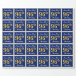 [ Thumbnail: Elegant, Blue, Faux Gold 96th Birthday + Name Wrapping Paper ]