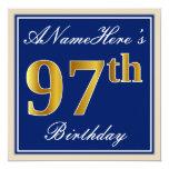 [ Thumbnail: Elegant, Blue, Faux Gold 97th Birthday + Name Invitation ]