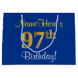 [ Thumbnail: Elegant, Blue, Faux Gold 97th Birthday + Name Gift Bag ]
