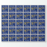[ Thumbnail: Elegant, Blue, Faux Gold 97th Birthday + Name Wrapping Paper ]