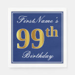 [ Thumbnail: Elegant Blue, Faux Gold 99th Birthday; Custom Name Paper Napkin ]