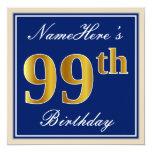 [ Thumbnail: Elegant, Blue, Faux Gold 99th Birthday + Name Invitation ]