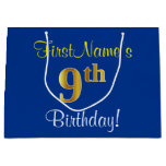 [ Thumbnail: Elegant, Blue, Faux Gold 9th Birthday; Custom Name Gift Bag ]