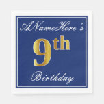 [ Thumbnail: Elegant Blue, Faux Gold 9th Birthday + Custom Name Napkin ]